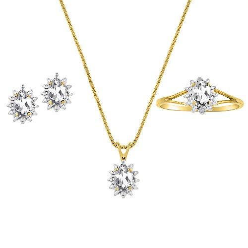 Conjunto de piedra natal de abril, anillo, pendientes y collar, topacio blanco en plata de ley o plata chapada en oro amarillo 925