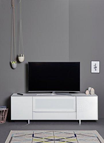 Jahnke Meuble TV SL 7200 AF, Bois, Blanc, 45 x 200 x 65 cm