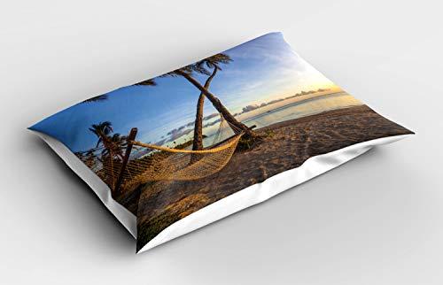 ABAKUHAUS Fiji Siersloop voor kussen, Summer Time Hangmat op een Strand, standaard maat bedrukte kussensloop, 90 x 50 cm, Veelkleurig