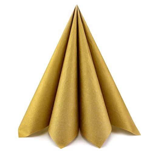 20 Stück | 40 cm Papierservietten Gold Tissue Servietten 3-lagig Tischdekoration Tischdeko Deko Dinner