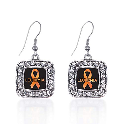 Inspired Silver - Leukemia Support Charm Earrings for Women - Silver Square Charm French Hook Drop Earrings with Cubic Zirconia Jewelry
