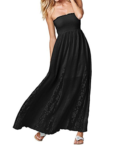 ACHIOOWA Mujer Vestido Cuello Palabra Encaje Punto Falda Sin Manga Playa Boda Suelto Elegante Dress
