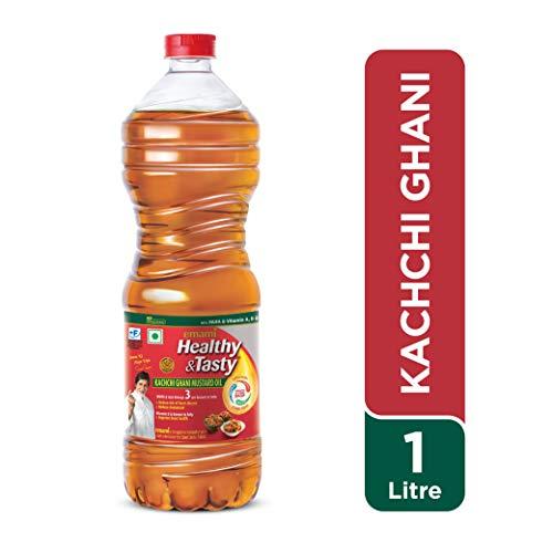 Emami Healthy and Tasty Kachi Ghani Mustard Oil Bottle, 1L
