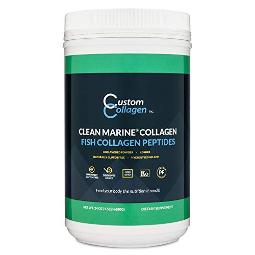 Fish Collagen Peptides 1.5lb (24oz) Jar - Clean Marine Collagen Powder - Kosher, Paleo, Non GMO, Unflavored - Highly Soluble Protein - Scoop Included