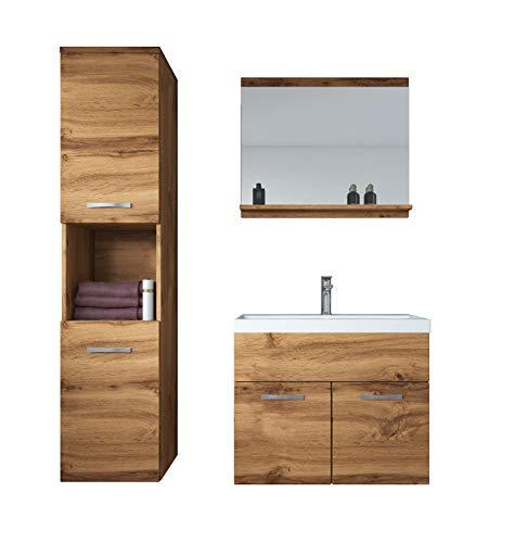 Badplaats B.V. Badezimmer Badmöbel Set Montreal 60 cm Waschbecken Wotan (Braun) - Unterschrank Hochschrank Waschtisch Möbel