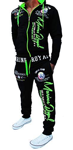 Jaylvis Yalvis Herren Trainingsanzug Jogginganzug Sportanzug Streetwear Jogger Hausanzug A.Marine Royal (schwarz-grün XXL