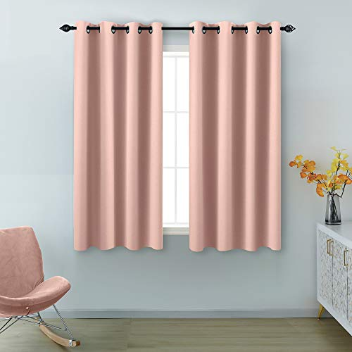 Pink Curtains 45 Inch Length for Girls Room 2 Panel Grommet Drape Insulated Thermal Light Blocking Blackout Short Curtains for Bedroom Girl Kids Baby Nursery Canopy Bed Small Windows Pale Blush Color