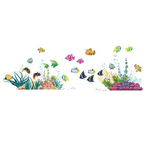 ElecMotive Fisch Entfernbare Wandtattoo Wandaufkleber Wall sticker Aufkleber DIY für Wohnzimmer Schlafzimmer Kinderzimmer in Geschenkkarton 42cm (H) * 130cm (W) (Unten Meer)