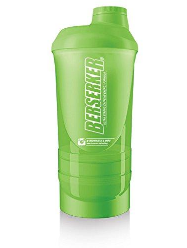 IronMaxx Super Eiweiß Shaker mit Pulverfach, Pillenbox, Drehverschluss, Sieb und Messskala – 600ml Fitness Shaker für unterwegs, überall und jederzeit – Grasgrün