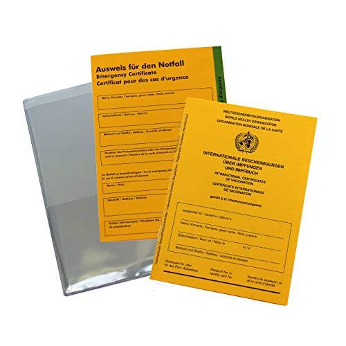 Impfpass, Schutzhülle und Notfallausweis im Set - Internationale Bescheinigung über Impfungen und Impfbuch