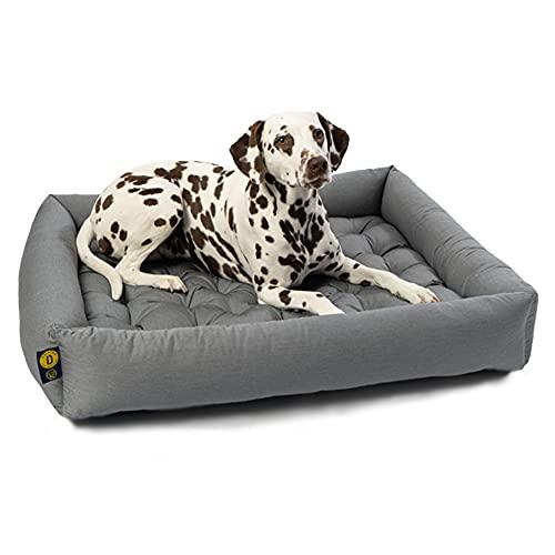 Dalstra Orthopädisches Hundebett mit Kissen komplett Waschbar Formstabiles Haustierbett in hellgrau Größe XXL 80 x 70 x 15cm