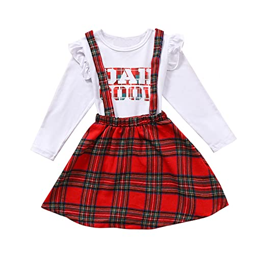 Kids Toddler Girls Plaid Suspender Skirts Outfits Romper Jacket Pullover Top Long Sleeve Ruffles Tutu Dress Set 2 Outfits