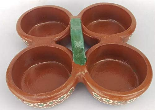 discount no!no! Mexican Salsera Salsero de Barro 4-Section Bowls Salsa Chips Guacamole Nuts Condiment Server Traditional Clay Party Dish high quality Made lowest in Mexico Hand Painted Flowers sale