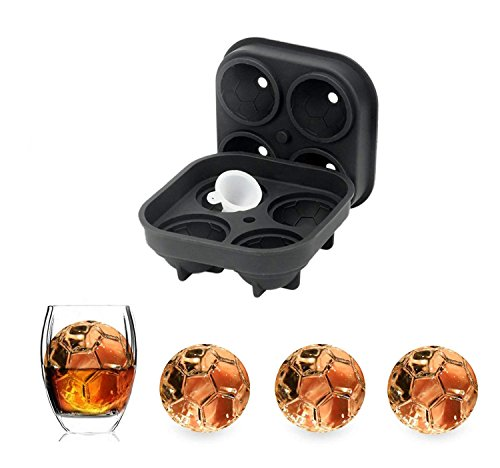Ice Mold 3D Soccer Ice Cube Tray, World Cup Football Shape Silicone Ice Cube Molds, Ice Cube Maker for Whiskey Ice and Cocktails