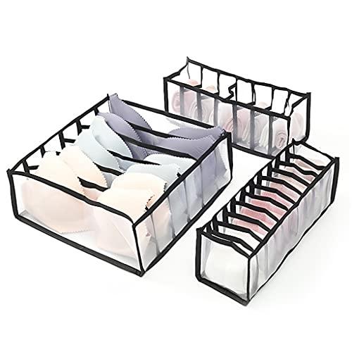 RENSLAT Organizador de conjunto de 3 piezas for calcetines Home Separado Ropa interior Caja de almacenamiento Bra Organizador Organizador de cajones plegables (Color : C, Size : 3-piece Set)