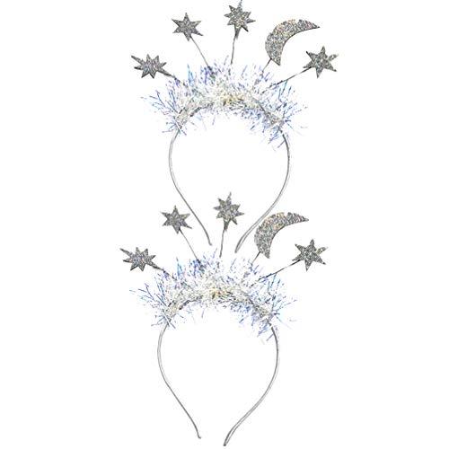 ABOOFAN 2 Piezas Diadema de Estrella de La Brillo Oropel para El Cabello Aro Brillante Corona para El Cabello de La Boda Princesa Cumpleaos Fiesta Cosplay Disfraz para Nias Mujeres