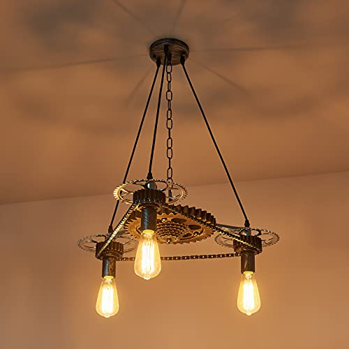 RETRO-INDUSTRIAL STYLE: The vintage chandelier features unique distressed gears, which makes its exterior so rustic, vividly shows us a home decor of post-industrial period style TOTAL DIMENSION: Dia 23''*H 9'', and the max height of adjustable Chain...