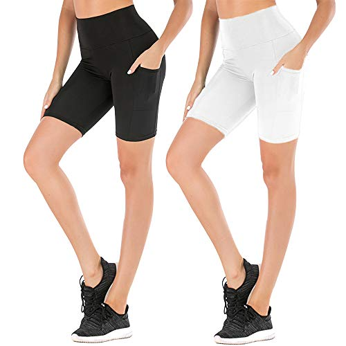 FULLSOFT Women High Waist Yoga Shorts-Workout Tummy Control Running Athletic Non See-Through Legging with Out Pocket (02-Black+White (2 Pack), X-Large)