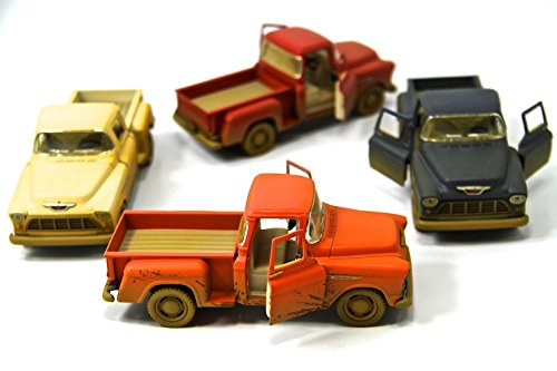 Set of 4: 1955 Chevy Stepside Dirty Pick-Up 1:32 Scale (Red, Badge, Blue, Orange)