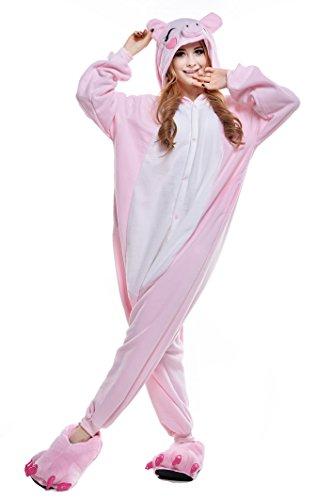 NEWCOSPLAY Pink/Black Pig Costume Sleepsuit Adult Onesies, Pink Pig, Size Medium