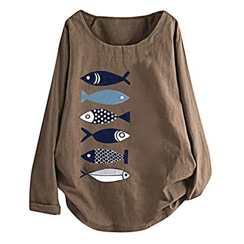Damen Sommer Herbst T-Shirt O Ausschnitt Lange Ärmel Taste Beiläufige Frauen Sexy Bedruckt Stretch Große Weste Hemden Baumwolle LeinenTee Top (EU:44, Kaffee B)