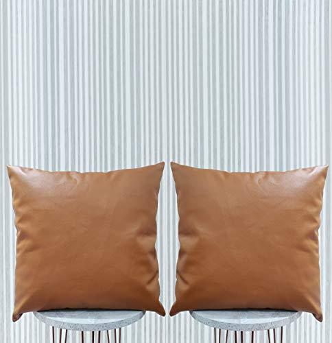 EFOLKI - Set di 2 federe decorative in finta pelle, 45,7 x 45,7 cm, design moderno, in similpelle, per divano, letto