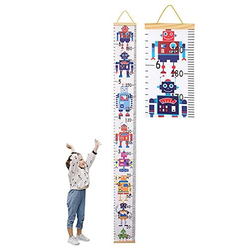 Tomedeks Tallímetro Para Niños, Tallímetro De Madera Con Tabla De Altura Colgante Desplazable, Decoración De Pared Para Jardín De Infantes Y Dormitorio, 7.87 X 76.8 Pulgadas (Robot)