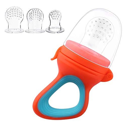 Baby Fruchtsauger Obstsauger, Gemüse Obst Sauger aus Premium Silikon mit 3 Silikon Nippel Ersatz für Babys und Kleine kinder, BPA-Frei EINWEG (Orange)