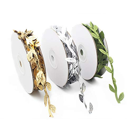 FUJIE 3 Pack Artificial Vines Fake Hanging Plants Artificial Olive Leaf Ribbon Silk Ivy Garlands Green Leaves Ribbon for Home Wedding Christmas Decoration - Gold/Silver/Green