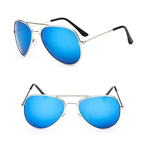 LIANGLMY Gafas de Sol 2021 Gafas de Sol clásicas Girl Colorful Mirror Glasses Metal Marco Niños Viajes Compras Egbess UV400 (Objektiv-Farbe : Silver Blue)