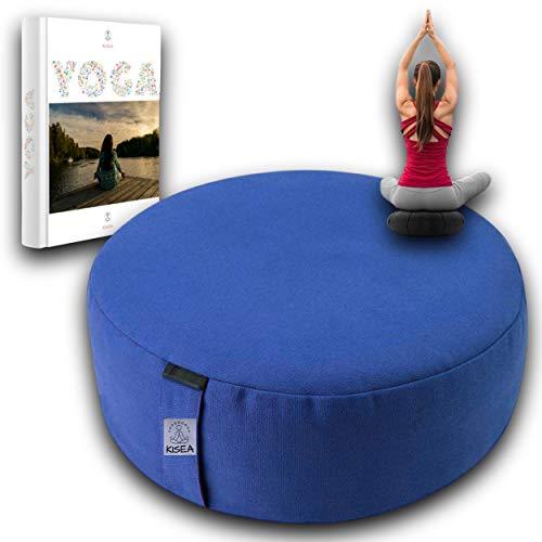 KISEA - Zafu de Yoga Chin mudra Rond idéal Relaxation, Coussin méditation - utilisé en Fitness et Pilates – Rembourrage Coque de Sarrasin Bio et Housse en Coton - pour préserver Votre Dos et Coccyx.