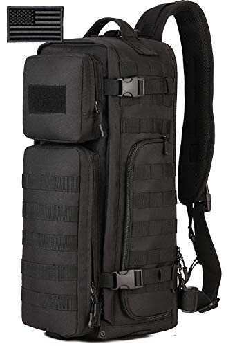 Protector Plus Tactical Sling Bag Military MOLLE Crossbody Pack Assault Range Chest Shoulder Backpack EDC Diaper Satchel Motorcycle Bicycle Outdoor Daypack (Patch Included), Black