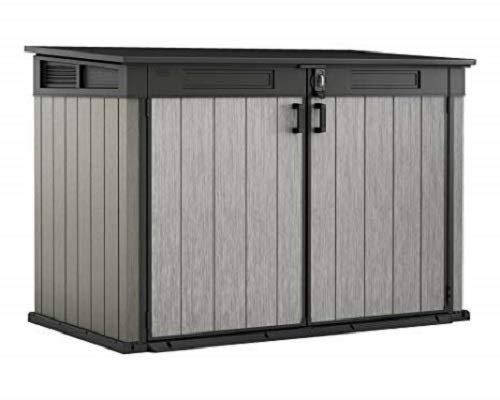 CCLLA Store It Out Grande Outdoor Plastic Garden Storage Shed, Grey and Black, 190 x 109 x 132 cm