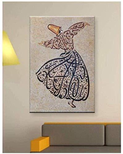 Bilder,Poster,Kunstplakat Wandplakat Poster Islam Arabisch Kalligraphie Muslim Moderne Wandkunst Leinwand Gemälde Islamisches Dekor Digitaldruck Mevlana Rumi Sufismus Wirbelnder Derwisch -40X60Cm