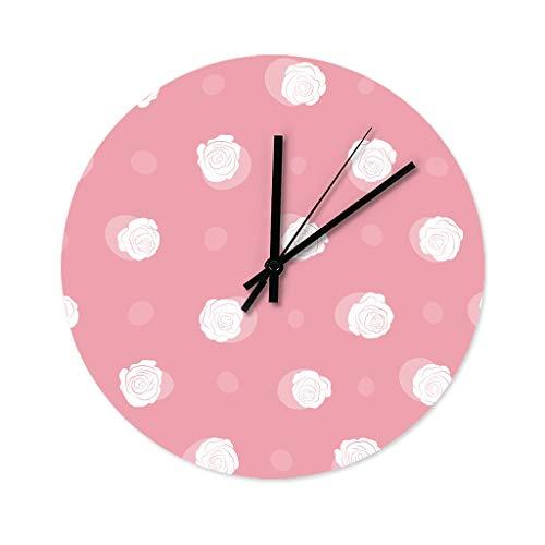 Wraill Reloj de pared redondo con diseño de pétalos de rosa, sin ruido de tictac, sin tictac, de madera, para decoración del hogar, color blanco, 30 x 30 cm