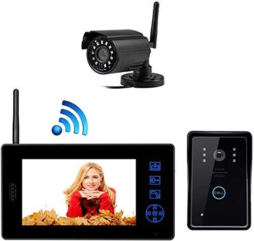 ZGYQGOO 7 Pouces HD, visionneuse Porte, Sonnette vidéo Night Vision, Porte Porte vidéo pour téléphone, Sonnette sans Fil bidirectionnelle, étanche à la Pluie, Vision Nocturne IR, Noir