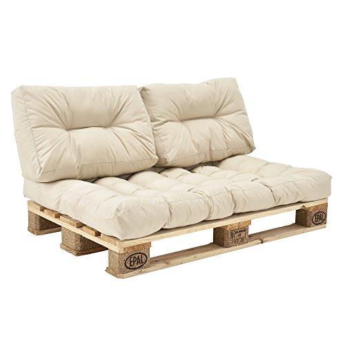 [en.casa]®] Set de 3 Cojines para sofá-palé - cojín de Asiento +...