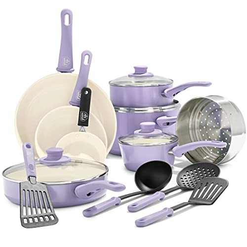 GreenLife Soft Grip Healthy Ceramic Nonstick, Cookware Pots and Pans Set, 16 Piece, Lavender