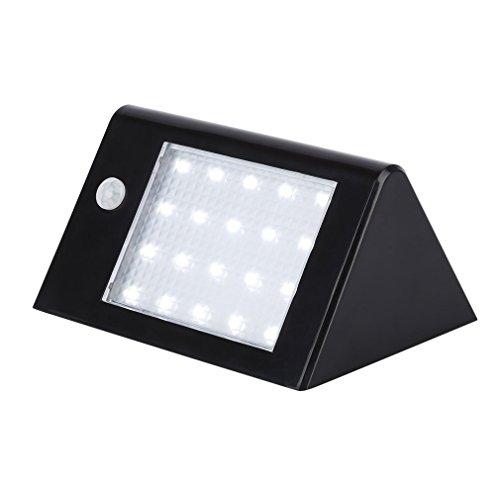 Tsing Foco Solar 20 LED 3.5W Luz solar Exterior Impermeable con Sensor de Movimiento Lámpara Infrarroja Interruptor Automático para Patio, Plataforma, Terraza, Jardín,etc (Negro)