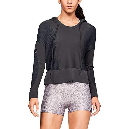 Under Armour UA Vanish Seamless Hoody Parte Superior del Calentamiento, Mujer, Jet Gray/Black/Metallic Silver 010, L