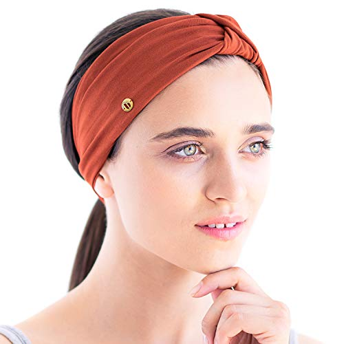 BLOM Original Multi Style Headband. for Women Yoga Fashion Workout Running Athletic Travel. Wear Wide Turban Thick Knotted + More. Comfort Style & Versatility. (Rust)