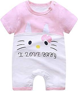 Baby Girl Pink Infant Romper Pyjama Toddler Cartoon Cat Outfit Jumpsuit Clothe set Short Sleeve Soft Dress Sleepsuit Onesi...