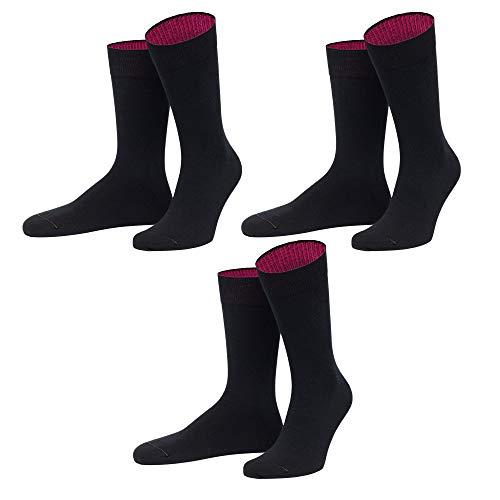 von Jungfeld - Herren Socken / Strumpf Herrensocken 3er-Pack einfarbig (43-46, schwarz)