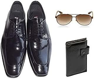 Eray Kundura Klasik Siyah Düz Erkek Ayakkabısı + Cüzdan + Güneş Gözlüğü