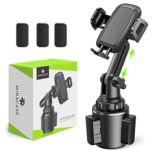 [2020 Upgraded] Cup Holder Phone Mount,Miracase Long Neck Never Shake Car Cup Phone Holder Cradle Car Mount for iPhone 12/12 Pro max/11 Pro/XR/XS Max/X/8/7 Plus/6/Samsung S10/Note 9/S8 Plus/S7,GPS etc