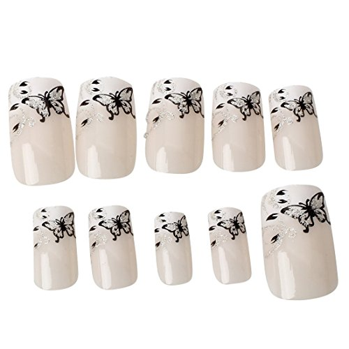 SODIAL SET 24 PIECES FAUX ONGLES MANUCURE DECORATION PAPILLON