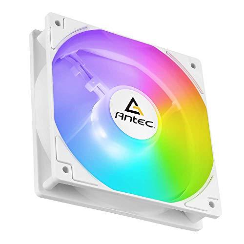 Antec - Ventilador de ordenador con marco cuadrado P12 ARGB de 120 mm, ventiladores RVB direcbles, diseño de hoja de equilibrio de aire, control PWM para caja de ordenador y radiador líquido