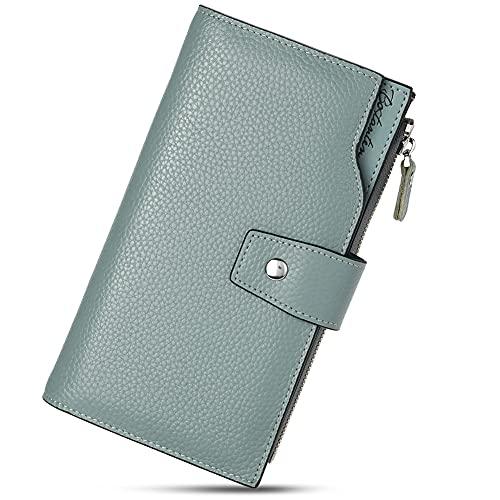 BOSTANTEN Leder Damen Portmonee Portemonnaie Geldbörse Handtasche Wallet Geldbeutel Clutch Groß Blau