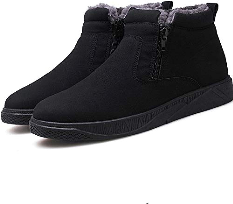 shoes for Men or Women hyx Round Short Tube PU Snow Boots shoes for Men Size 39, color Black (color   Black)