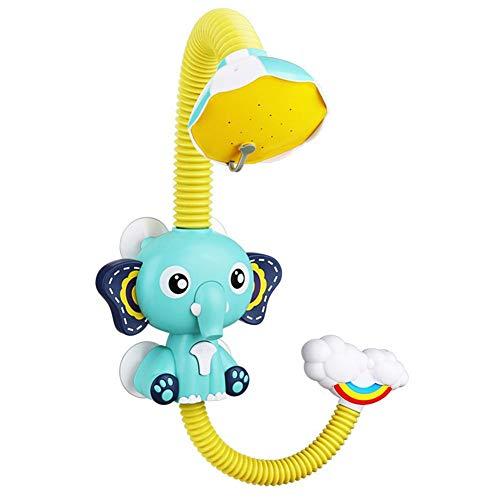 Juguete para baño de ducha, aspersor de ducha para niños y bebés en el baño, juguete de verano eléctrico, bañera duradera, alcachofa de ducha, bocina, elefante, bomba de agua, Azul